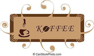 koffie, curls., spandoek, kop