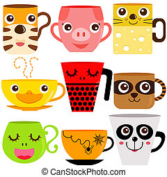 koffie, dieren, mok, kop