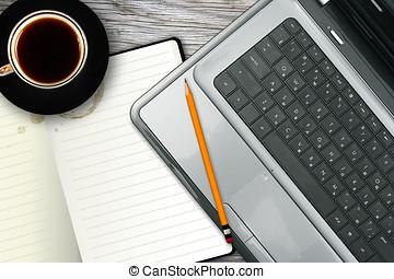 koffie, draagbare computer, werkplaats, aantekenboekje, kop