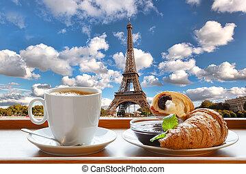 koffie, eiffel, parijs, tegen, frankrijk, croissants, toren