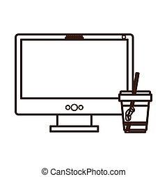 koffie, espresso, technologie mededeling, pictogram