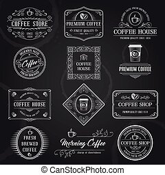 koffie, etiketten, black , retro