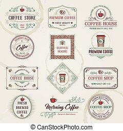 koffie, etiketten, retro