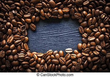 koffie, frame, donker, boon, achtergrond, horizontaal