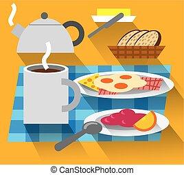 koffie, gebraade eieren, ontbijt