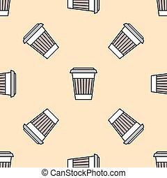 koffie, gekleurde, kop, model, seamless, papier