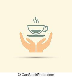 koffie, gekleurde, kop, vrijstaand, twee, vector, holdingshanden, open, pictogram