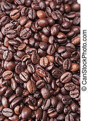 koffie, gemaakt, bonen, achtergrond, geroosterd