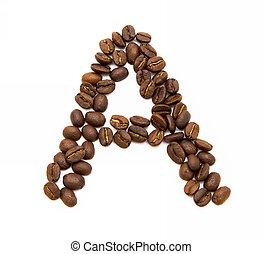 koffie, gemaakt, bonen, brief, geroosterd