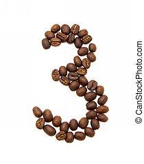 koffie, gemaakt, bonen, drie, geroosterd