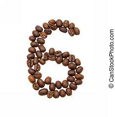 koffie, gemaakt, bonen, zes, geroosterd