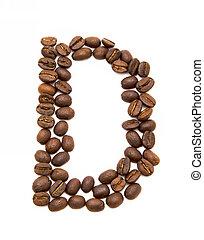 koffie, gemaakt, d, bonen, brief, geroosterd