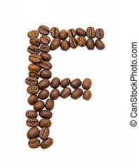 koffie, gemaakt, f, bonen, brief, geroosterd