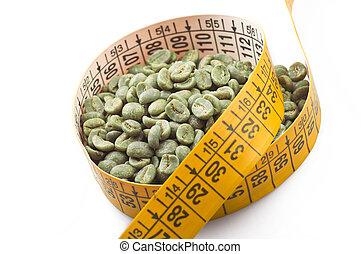 koffie, gewicht, rauwe, groene, verliezen, drinkt