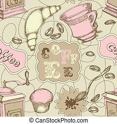 koffie grinder, model, etiketten, cakes, tekst, seamless, lepel, mokken