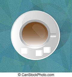 koffie, groene achtergrond, kop