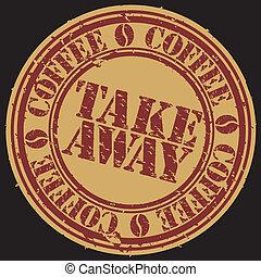 koffie, grunge, weg, postzegel, vect, nemen