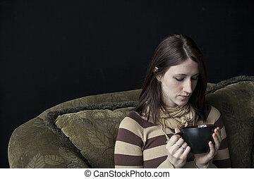 koffie, haar, kop, veel, niet, links