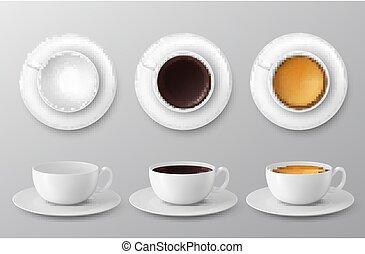koffie, illustratie, assortiment, kop, collection., vector