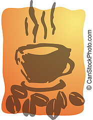 koffie, illustratie, kop