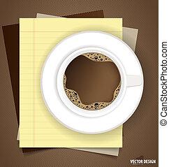 koffie, illustration., kop, aantekening, papieren, vector, gereed, message., jouw