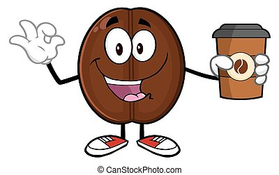 koffie, karakter, boon, vrolijke