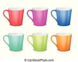 koffie, kleurrijke, kop, mokken, keramisch, vrijstaand, verzameling, vector, lege, 3d