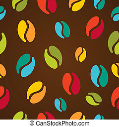 koffie, kleurrijke, model, seamless, illustratie, bonen