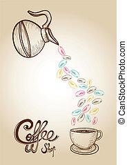 koffie, kleurrijke, schets, illustratie, stijl, bonen