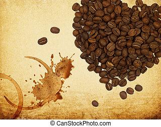 koffie, liefde, concept., hart formeerde, koffie bonen, en, coffe, ringen, op, ouderwetse , paper.