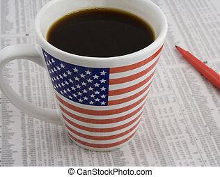 koffie, liggen, tijd