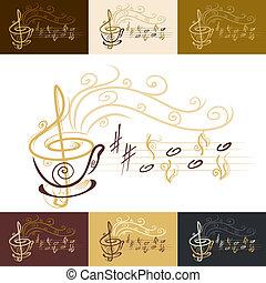 koffie, muzikalisch, kop