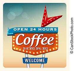 koffie, neon, retro, meldingsbord