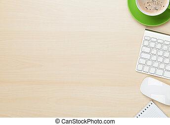 koffie, notepad, kantoor, kop, computer, tafel