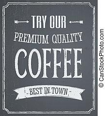koffie, ontwerp, chalkboard