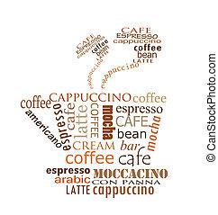 koffie, ontwerp, kop