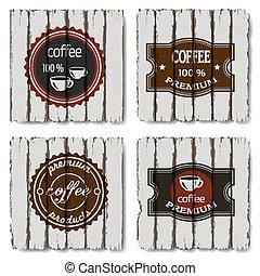 koffie, oud, etiketten, vier, hout, achtergrond