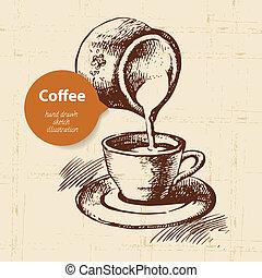 koffie, ouderwetse , hand, achtergrond, getrokken