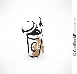 koffie, papier, grunge, pictogram, kop