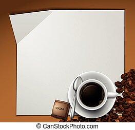 koffie, papier, ontwerp, kop