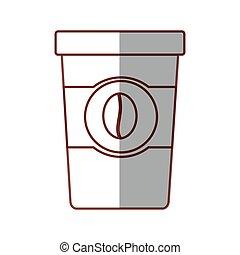koffie, papier, schaduw, kop