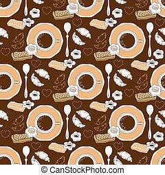 koffie, pattern., gebakje, seamless