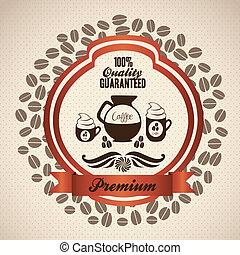 koffie, pictogram, etiket