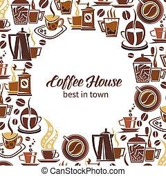 koffie, poster, grinders, vector, makers, koppen