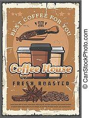 koffie, poster, woning, papier, retro, takeaway, koppen