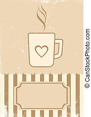koffie, retro, illustratie