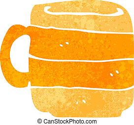 koffie, retro, spotprent, kop