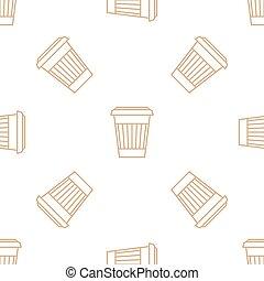 koffie, schets, kop, model, seamless, papier