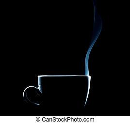 koffie, schets, kop, steaming, zwarte achtergrond