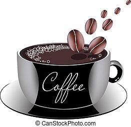 koffie, schotel, kop
